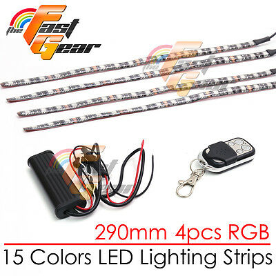 4 Pcs Fairing Body Frame Decor RGB LED Light Strip 290mm For Car Truck Lorry