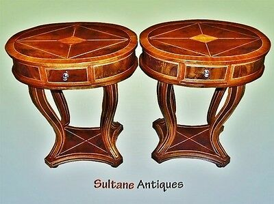 Pair Art Deco style inlaid side tables commodes