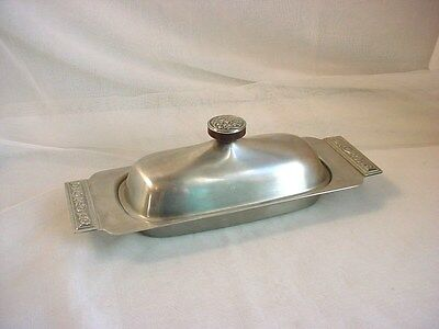 Vtg Ornate Metal Covered Butter Dish International Decorators Stainless