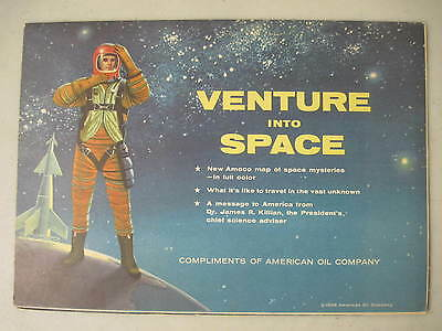 Venture Into Space 1958 Amoco Fold Out Map Of Outer Space Astronaut Space Ship