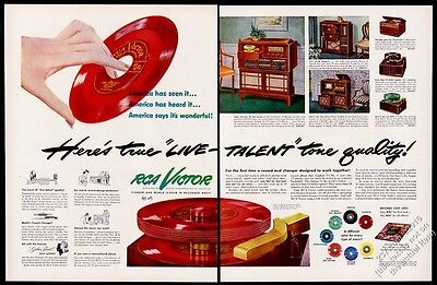1949 RCA Victor 45RPM red blue green colored records & phonograph pix print ad