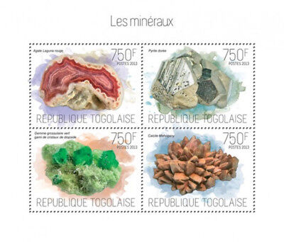 Togo 2013- Minerals and Gems of Togo  4 Stamp Sheet 20H-778