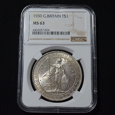 1930 Great Britain Silver Trade Dollar, Choice Uncirculated, Ngc Ms63