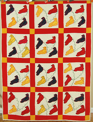 WONDERFUL Vintage 40's Folk Art Bird Applique Antique Quilt ~VIBRANT COLORS!