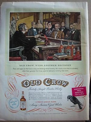 1950 Old Crow Whiskey Courtroom Court Judge Ad