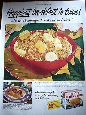 1947 Nabisco Shredded Wheat Cereal Bananas Ad
