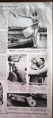 1939 Life Savers Candy Flag Girl Mermaid Swimsuit Ad