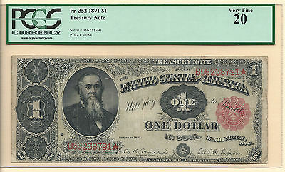 1891 $1 Treasury Coin Note Fr352, Pcgs Very Fine 20