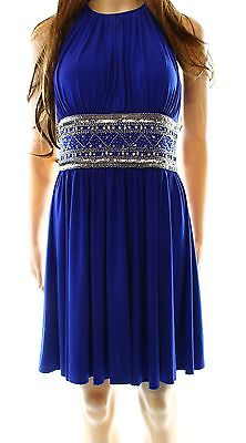 JS Boutique NEW Blue Royal Women's Size 6 Beaded Empire Waist Dress $138- #159