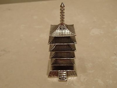 "Pagoda Stamped ""sterling"" Silver Salt Shaker Oriental Asian Design"