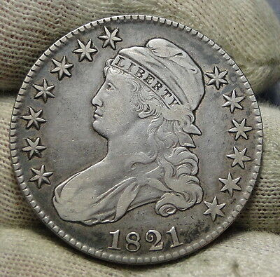 1821 Capped Bust Half Dollar 50 Cents - Nice Coin Free Shipping (6226)