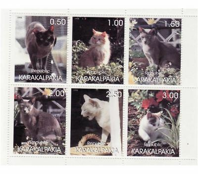 1998 - Domestic Cats and Kittens on Stamps  6 Stamp Sheet 11B-028