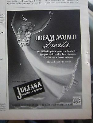 1945 Vintage JULIANA Lingerie DAWN  Nightgown Gown Favorites Ad