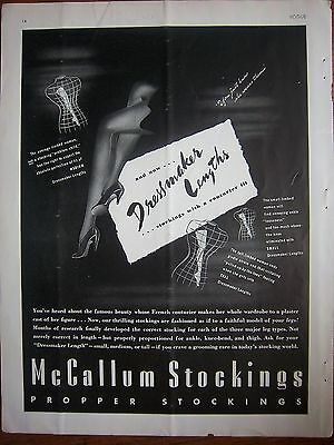1939  McCallum Propper Stockings Hosiery Dressmaker Lengths Couturier Fit Ad