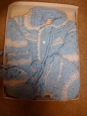 Vintage Hand Made Blue & White 100% Acrylic Sweater, booties & Hat NOS