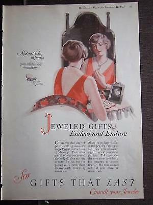 1927 Consult Jeweler Lady Vanity Beaded Purse Color Ad