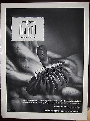 1947 Vintage Magic Rayon Crepe Faille Pouch Handbag Purse Ad
