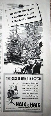 1942 Haig & Haig Scotch Helped Britain Celebrate 100 Naval Victories Ad