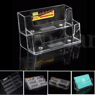 1-8 Layer Acrylic Clear Desktop Business Card Holder Display Stand Desk Shelf