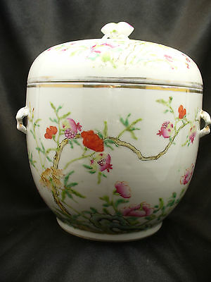 Antique Chinese Famille Rose Covered Jar with Chin Long Rein Mark