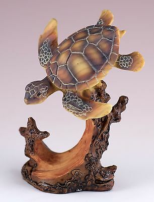 Sea Turtle With Starfish Carved Wood Look Figurine Resin 4 Inch High New!