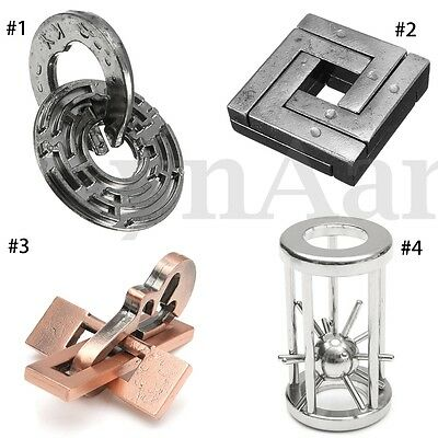 Metal Cage Maze Unlocked Puzzle IQ Mind Brain Teaser Educational Toy For Child
