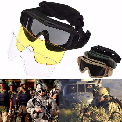 Tactical Airsoft Anti Fog Goggles Eye Safety Protection Glasses With 3 Lenses