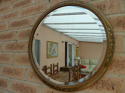 Vintage Art Deco Round Barbola Wall Bevelled Mirror 30's Wall Mirror