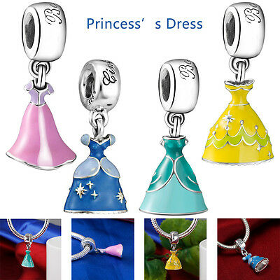 Princess's Enemal Dress Silver Pendant Charm for European DIY Bracelet Necklace