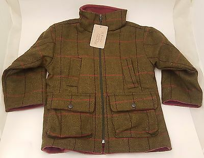British Country Collection Girls Check Tweed Fleece Lined Jacket - Sizes S M XL