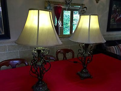 Art Deco Style  Sofa Lamps /bedside Lamps With Shades  Handmade Quality Pieces !