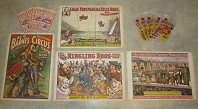 Set of 4 Old Vintage 1960 CIRCUS POSTERS + 10 Ringling Popcorn / Peanut Bags