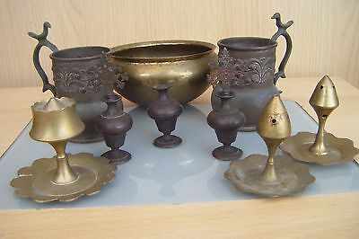 a collection of vintage middle eastern/asian metal ware