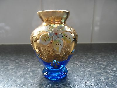 Vintage Rare Murano Minature Blue And Gold Vase