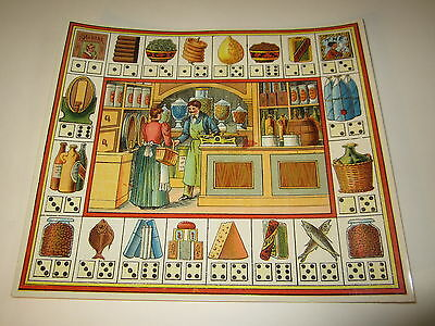 Old c.1890 Antique - French Game PRINT - GROCERY STORE - Game of Trades