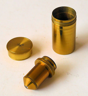Old brass J. Swift microscope objective in canister. P.-A. 1/4 IN.
