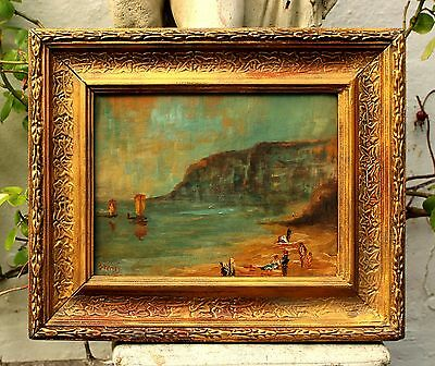 Superb Early C20th French Impressionist School Oil On Canvasboard - Beach Scene