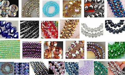 100pcs Wholesale 27 colors 4x6mm  Crystal Faceted Roundel Loose Beads