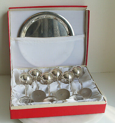 Set Of 6 Small / Tall Vintage Chrome Goblets   With Tray