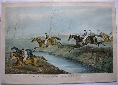 Pferderennen National Steeple Chase Farblithographie Reeve 1853 Horse Racing