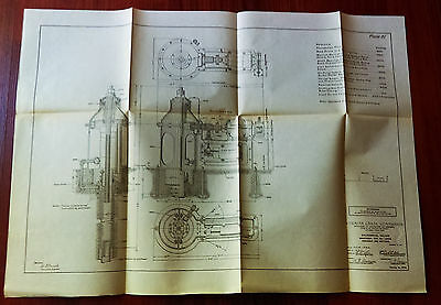 1910 Panama Canal Engineering Diagram Drawing Valves and Machinery