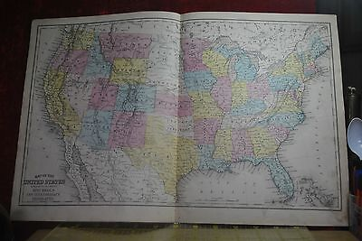 1874 Hand Colored Map United States Of America, Many Forts, Western Territories
