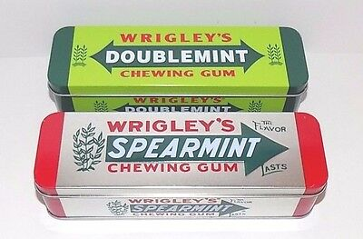 """Set of 2 Tin Metal Chewing Gum Boxes Wrigley's Doublemint and Spearmint 6 3/4"""""""