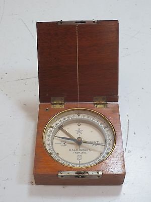 Antique W. & L.E. Gurley Wooden Surveyor Engineer Pocket Compass - Troy, NY