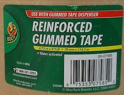 """DUCK REINFORCED GUMMED TAPE WATER-ACTIVATED 3 Roll Lot 2.75"""" x 375 ft"""