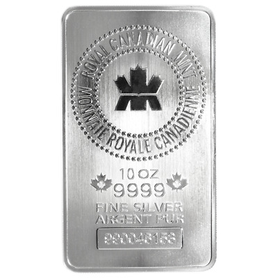 10 Troy oz Royal Canadian Mint RCM .9999 Fine Silver Bar Sealed