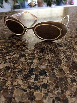 RARE 90s Vintage FENDI OVAL SUNGLASSES GOLDEN Brushed Metal SL 7112 ITALY MINT!