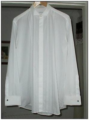 MENS DRESS / EVENING / TUXEDO SHIRT BY M&S. 16in WING COLLAR, WHITE.