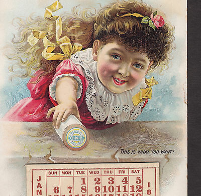 Clarks ONT Spool Sewing Thread 1889 Calendar Lovely Victorian Advertising Card