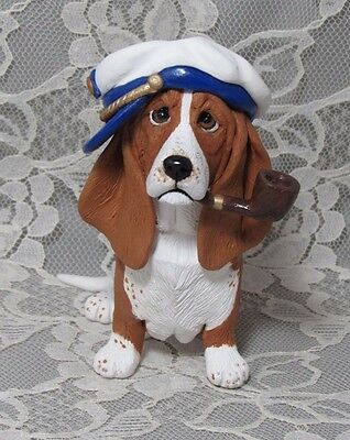 Basset Hound Dog Sculpture Old Basset and the Sea Pipe Sailor Hat unique!